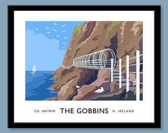 The Gobbins, County Antrim - vintage style railway travel poster art of Ireland