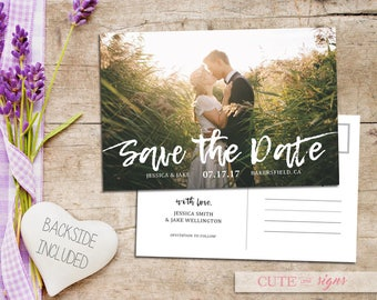 Save the Date Calligraphy Photo Postcard, Save the Date Engagement Announcement Digital Download