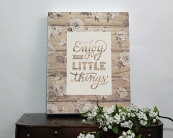 Enjoy The Little Things,Framed Wall Art,Wood Sign,Birthday Gift Her,Farmhouse Decor,Mothers Day Gift,Rustic Wood Sign,Framed Quotes,Wall Art
