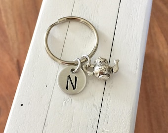 Initial keychain, tea pot keychain,personalized charm,initial charm zipper pull, back to school gift, Best Friend Gift
