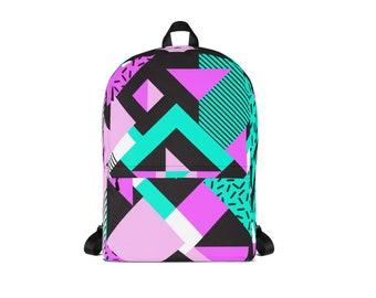 80s Style Back pack, Retro Back Pack, 80s Bag, Retro School Bag, Geometric Bag, 80s, Back Pack, School Bag, Backpack, Bag, 80s Bag