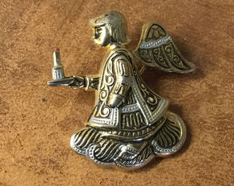 Sweet Heavenly Faux Damascene Signed Spain Little Angel Brooch Pin Gold Black White Holding Candle Artisan Made Toledo Spain Angel Wings