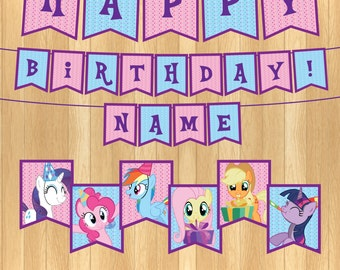 INSTANT DOWNLOAD - EDITABLE My Little Pony Party Banner
