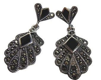 Silver ART NOUVEAU Earrings with onyx and marcasites BE8909A