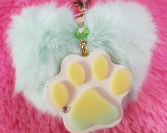 Mint Paw Print with Heart Puff Ball
