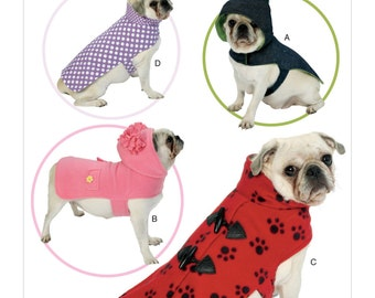 Butterick Sewing Pattern B6432 Pet Coats with Collar or Hood