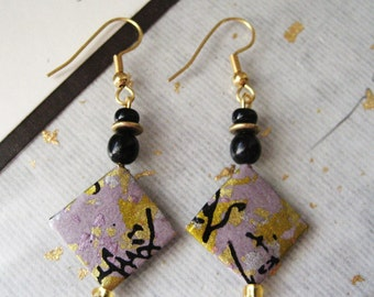 japanese washi paper origami paper chiyogami paper diamond shaped earrings by cra1nes on etsy