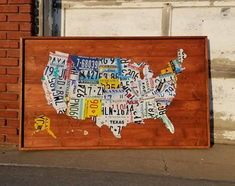 License Plate Map, Authentic USA Plates (New Large Size)