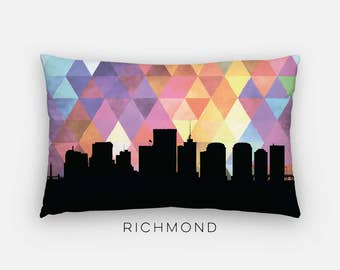 Richmond, Virginia | Richmond art pillow | Richmond skyline pillow | city skyline pillow | geometric pillow | geometric decor | purple home