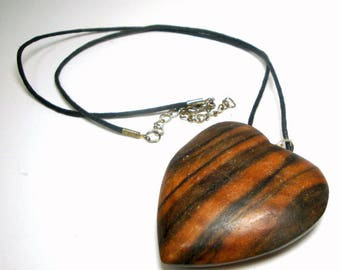SALE, Large Handmade Wood HEART Pendant, on Black Cord OOAK, Rachelle Starr, Ecochic Recycled Valentine Necklace