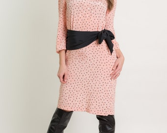 Vintage Peach And Black Paisley Sash Dress (Size Medium)