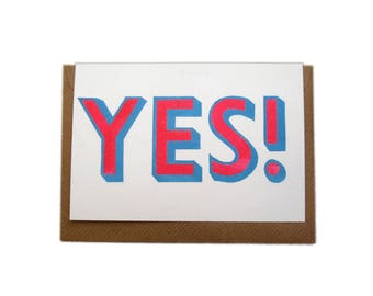Letterpress Printed YES! Greetings Card