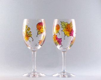 Fall Leaves Wine Glasses - Hand Painted Fall Leaf Wine Glasses - Set of Two