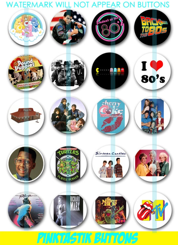 Totally Awesome 80s Pin Back Buttons 80s Theme Party Buttons - photo #50