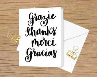 Thank you card , grazie thanks merci gracias