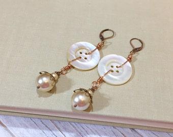 Statement Earrings, Pearl Earrings, Vintage Mother of Pearl Button Earrings, Big Earrings, Long Earrings, Button Jewelry, KreatedByKelly