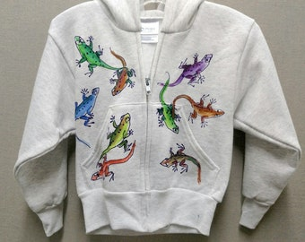 Leaping Lizards Zip-Front Hoodie Hand painted for Kids size 2-4