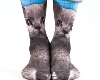 Samson® Grey Cat Hand Printed Socks Animals Blue Sublimation Quality Print UK