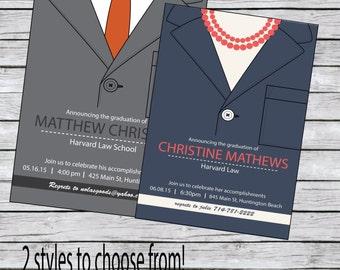 Law School Graduation Invitation Tie or Pearls
