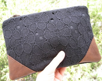 Black lace clutch, black, medium, lace, cotton, travel, lifestyle, wedding, bridesmaid gift