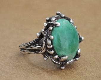 Vintage find sterling silver native Navajo green turquoise tree branch ring. Vintage 60s turquoise ring