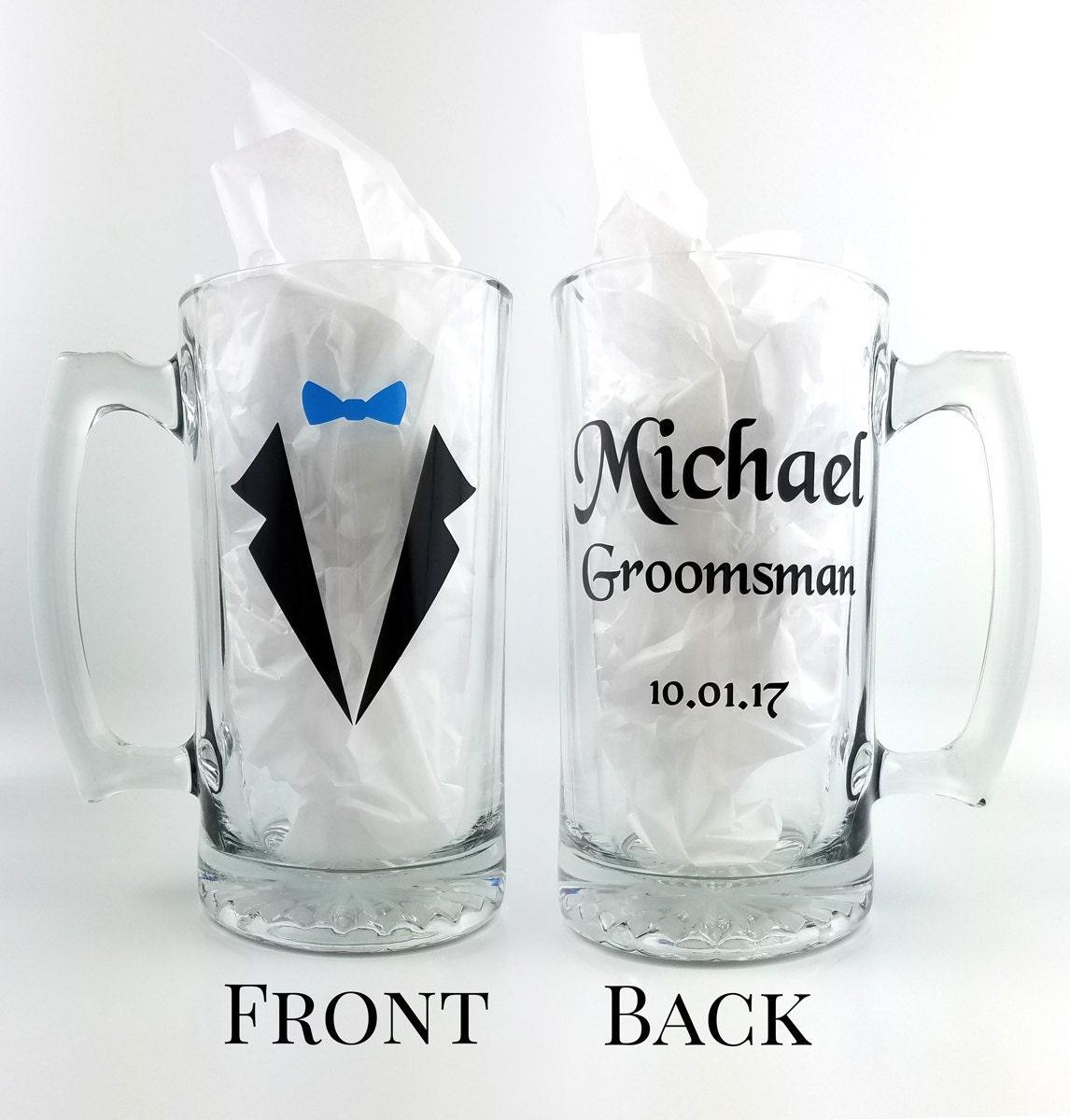 Personalized wedding Mugs - 26 oz beer mug with name role and ...
