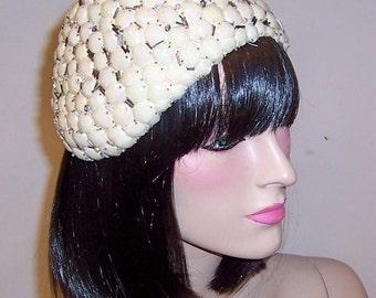 Buscha Hats-New York-Rare and Unusual 1920's White Skull Cap/Hat