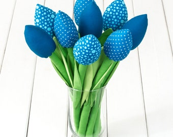 Blue flowers / cozy home / fabric tulips bouquet / flowers for mom / birthday gift / floral table decor / alternative bouquet