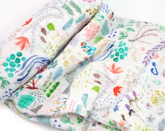 """Muslin Swaddle Blanket in Watercolor Field - made from 100% cotton double gauze - 45"""" square"""