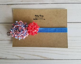 Patriotic red, white, and blue toddler bow infant headband, baby headband, newborn bows, photo prop, baby girl headband ||FREE SHIPPING