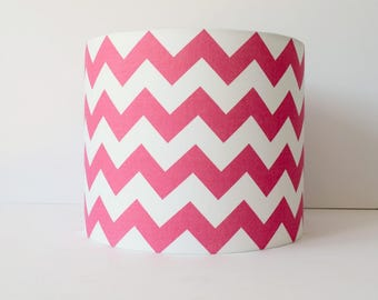 Pink lampshade etsy chevron lamp shade hot pink lampshade pink nursery decor pink and white stripe aloadofball Gallery