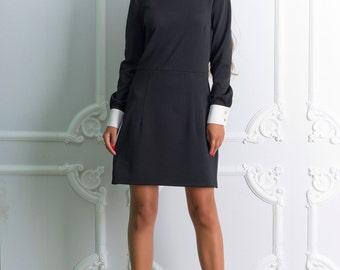 Black white dress Peter Pan collar LBD dress Short sleeve dress autumn dresses Woman black dress Spring dress