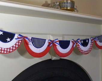 """Patriotic Bunting In The Hoop Banner Machine Embroidery Design Applique Patterns done In-The-Hoop 6 sizes 5"""", 6"""", 7"""", 8"""", 9"""" and 10"""""""