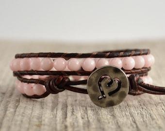 Rustic jewelry. Romantic beaded bracelet. Gift for mom. Pink double wrap bracelet