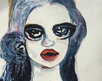 Original Portrait Painting, Original Acrylic Painting, Modern Art Deco, Original Watercolor, Mixed Media Painting, Woman Face Painting