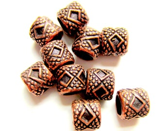 30 Antique copper beads ethnic style boho chic jewelry supply 7mm 6mm
