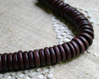 50pcs Wood Beads Rondelle Dark Brown 15mm Flat Disc Round Coin 8 Inches Strand