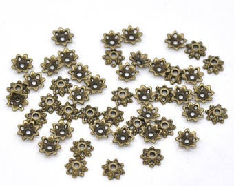 Bead caps flower 9 mm hole in antique bronze (x 12)