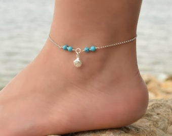 Shell Anklet Sterling Silver, Anklet, Beaded Anklet bracelet, Turquoise Beaded Anklet, Silver Chain Anklet, Anklets for Women, Ankle Jewelry