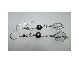 ww1324 - PEARL & HERKIMER DIAMOND Wirewrap Earrings - Argentium Sterling Silver