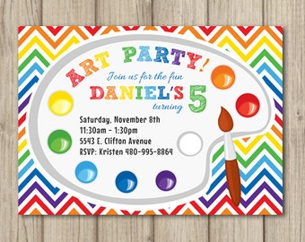 ART BIRTHDAY PARTY Invitation - Art Party - Art Birthday - Boy or Girl