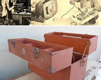 Industrial, TV, Repair,  Knickerbocker, Case Co. Storage, Cabinet, Vintage, Radio, Television, Sylvania, Case, Oddities, Brown, Antique