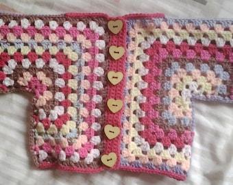 Baby Cardigan Crochet Granny Square Design
