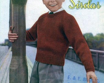 Original Vintage Pattern. 1950s. Boy's Pullover Sweater Jumper. Growing Up In Sirdar 562.