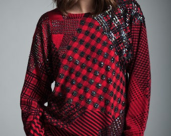 vintage 90s red black plaid sequined sweater pullover top lambswool angora MEDIUM M