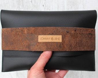 Clutch natur cork D.Y.E.D.B.R.O.W.N. // black