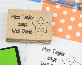 Teacher Stamp - your name and message - Custom Reward Rubber Stamp - Personalised Grading Stamp