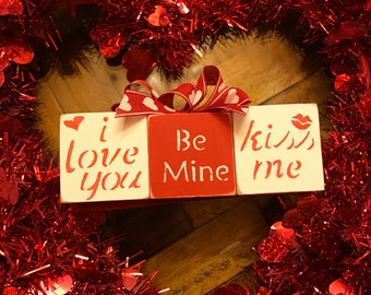 I Love You, Be Mine & Kiss Me Valentine's Day Blocks