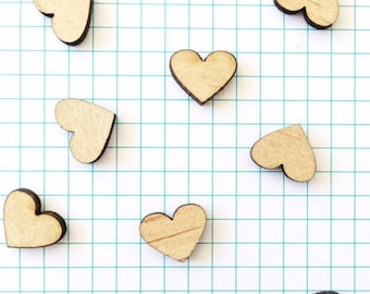 HEART WOOD CUTOUT - 10x Laser Cut Natural Wood Hearts, 12mm