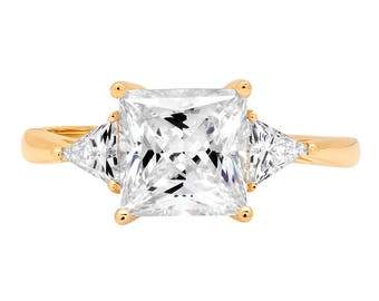 Trillion Engagement Ring, Trillion Ring, Trillion Cut Rings, 2.40 ct Three Stone Princess Trillion Cut Promise Band Ring 14K Yellow Gold